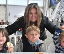 Tania Taylor, of Dunedin with her grandchildren, Chloe Taylor (5), of Invercargill, Jack Taylor ...
