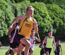 Jacob Robinson (North Otago) is off to a flyer in the grade 12 boys 200m. High flyer ... Nicholas...