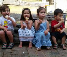 Loukas Theodoulou (3), Maia Bowden-Vu (2), Lily Hanson (3) and Connor Pearson (2) enjoy a...