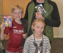 Josef Kaiser, of Dunedin, and his children Thomas (9) and Helena (7).