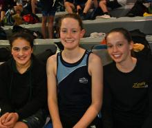 Clara Peniamina (12) of the Kiwi Club, Emma Morton (13) of Cromwell Club and Caitlin Hewson (13) of Zenith Club.