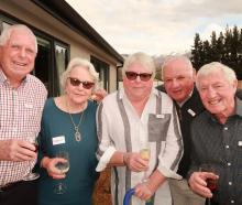 Bob Farrell, Oweena Frew, Betty Frizzell, George Douglas and Doug Frew, all of Arrowtown.