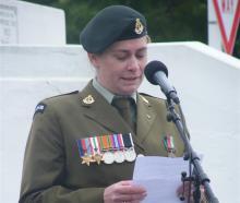 Alexandra-Clyde RSA president Debra Warburton closes the Armistice Day service in Alexandra.