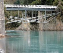 The refurbished Rakaia Gorge No.1 bridge from the river level