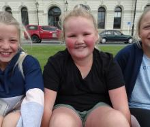Gemma Aker (10), Bennette Kennedy (9) and Laura Aker (10), of Oamaru.