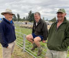 Palmerston farmers (from left) Fraser Ross, Jim Thomson and Ray O'Connell share a yarn about Mr...