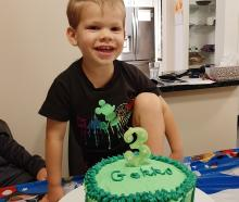 Maddox Marshall, of Fairfield, helped make his own Gekko birthday cake. PHOTO: LISA MARSHALL