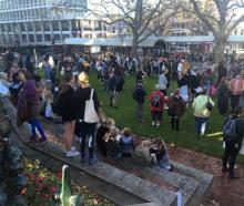 Peaceful protesters gather in the Octagon this afternoon. Photo: Christine O'Connor