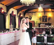 Alden and Mary Ellen Kwong, who were married at Larnach Castle. KELK PHOTOGRAPHY.