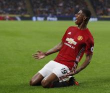 Marcus Rashford celebrates scoring for Manchester United. Photo Reuters