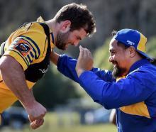 Prop Hisa Sasagi (right) and fellow prop Craig Millar at training for Otago earlier this week. ...