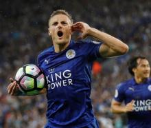 Jamie Vardy celebrates a goal for Leicester against Swansea City at the weekend. Photo: Reuters