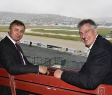 New Zealand Racing Board chief executive John Allen (left) with Forbury Park Trotting Club...