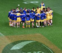The Otago team talks before training starts at Forsyth Barr Stadium yesterday. Photo: Peter...