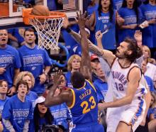 Kiwi basketballer Steven Adams get a slam dunk for the Oklahoma City Thunder in the NBA Playoffs.