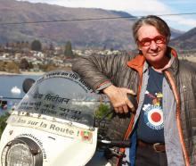 Frenchman Hubert Kriegel with his Ural sidecar motorcycle in Wanaka on Saturday. Mr Kriegel has...