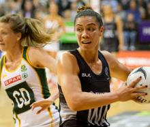 The Silver Ferns' Grace Rasmussen in action against South Africa's Karla Mostert. Photo / Alan...