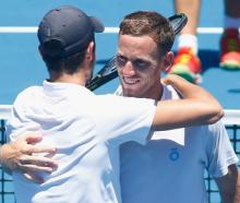 Michael Venus celebrates with doubles partner Mate Pavic. Photo: Getty