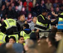 The trouble occurred during West Ham's clash with Chelsea. Photo Reuters
