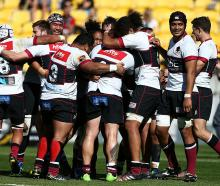 North Harbour players celebrate after their win. Photo: Getty Images