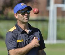 New Otago coach Rob Walter provides some throwdowns at Brooklands Park earlier in the week. Photo...