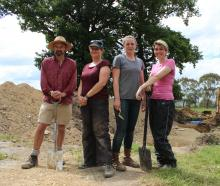Dr Peter Petchey, Associate Prof Hallie Buckley, Dr Rebecca Kinaston and university student...