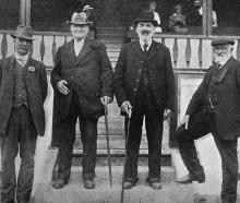 A group of stalwarts at the Clutha and Matau A. and P. Society's show in Balclutha. From left:...