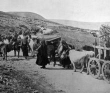 Refugees returning to their villages at Monastir in the Balkans after it was retaken by the...