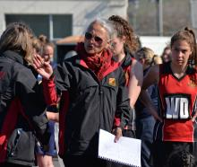 Waitaki Girls' coach Georgie Salter plots the attack. Photo: Carol Edwards.