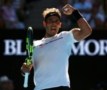 Rafael Nadal reacts during his match against Alexander Zverev. Photo Reuters