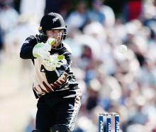Tom Blundell in action during the third Twenty20 match against Bangladesh in Mount Maunganui....