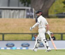 Kane Williamson departs after being dismissed for two by Bangladesh's Kamrul Islam. Photo Getty
