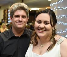 Dan and Becky Faulknor at their wedding in Dunedin on Saturday. Photo: Gregor Richardson.