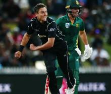 Trent Boult bowls during the first ODI between New Zealand and South Africa. Photo: Getty Images