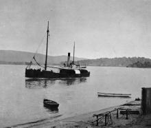 The coastal steamship s.s. Kotare leaving Pounawea.- Otago Witness, 7.3.1917.