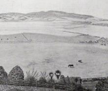 A drawing made by Mr W.R. Jeffries in June, 1860 of ``The Flat'' looking from a site above the...
