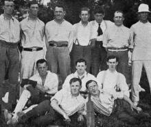 A cricket team, comprised of patients and staff at Queen Mary's Hospital, Hanmer. Back row (from...