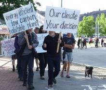 Leading the way in a climate change march in Alexandra in November 2015 are Brian Turner, of...