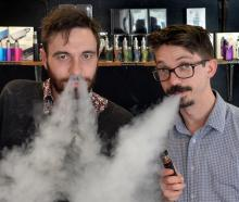 Dunedin e-cigarette store Vapourium account manager Cody Peneamene (left) and operations manager...