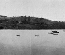 Panorama of Moeraki Bay, Otago, showing the fishing fleet at their moorings. - Otago Witness, 25.4.1917.