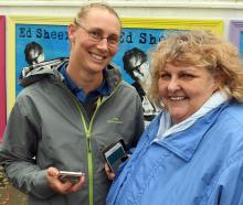 Ed Sheeran fans Erin Davis (left), and Debbie Waide, both of Dunedin, met in the queue for...