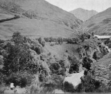 The grandeur of Otago's mountain scenery: a view of the celebrated Shotover River Gorge. - Otago...