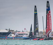 Team New Zealand (right) will undergo a maintenance day before the Louis Vutton Cup. Photo: Getty...