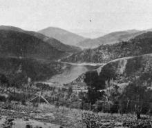 Panoramic view of the Upper Silverstream Valley from Leishman's Hill, Whare Flat. - Otago Witness...