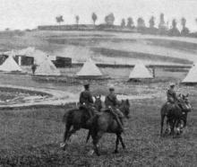 Cavalry passing a clearing station on the Western Front. - Otago Witness, 18.7.1917.