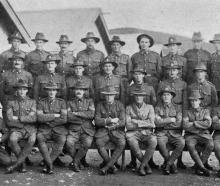 Officers and N.C.O's of J.Company, 27th Reinforcements at Trentham Camp. Back row (from left):...