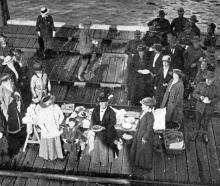 Ladies of the Port Chalmers Patriotic Society supplied soldiers returning by troopship with...