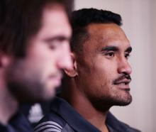 Jerome Kaino of the All Blacks speaks to the media during a New Zealand All Blacks media session...