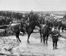 With the British Army on the Western Front: A busy scene in newly-captured territory. - Otago...