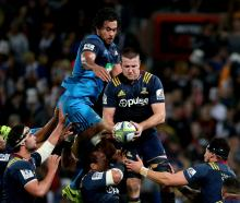 The Highlanders in action against the Blues in Dunedin back in April. Photo Getty